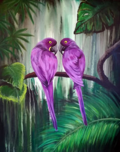 Liebesvögel, 80cm x 100cm, Acryl