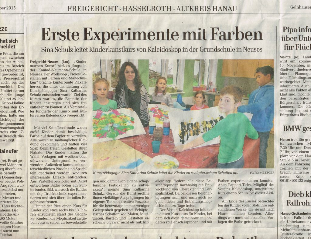 Artikel über Sinas Kinderkunstkurs beim Kaleidoskop vom 14.11.2015