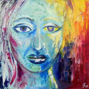 Das zweite Gesicht, 60 cm x 60 cm, Acryl
