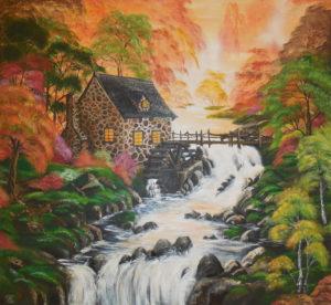 Mühle im Wald, 140 cm x 120 cm, Acryl, in Privatbesitz