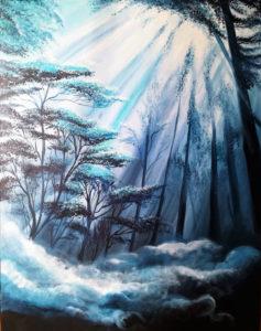 Düsterwald, 70 cm x 90 cm, Acryl