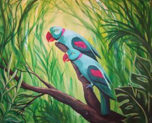 Grüne Papageien, 100 cm x 80 cm, Acryl