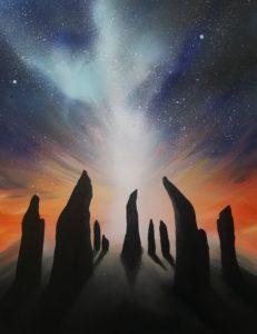 Steinkreis von Callanish, 70 cm x 90 cm , Acryl