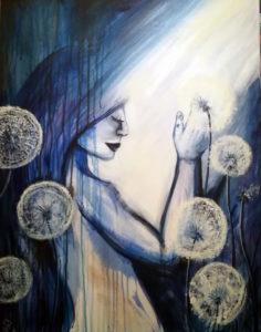 Mädchen mit Pusteblumen, 70 cm x 100 cm, Acryl