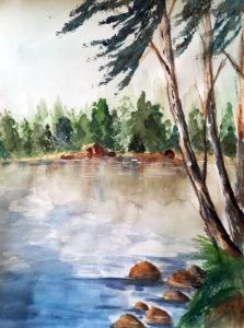 Ufer des Gien, 30 cm x 40 cm, Aquarell