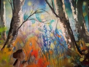 Birkenwald, 100 cm x 80 cm, Mixed Media
